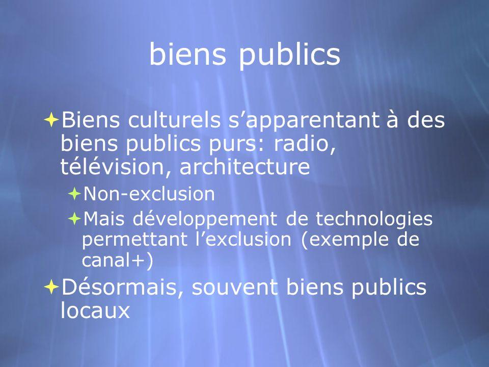biens publics Biens culturels s'apparentant à des biens publics purs: radio, télévision, architecture.