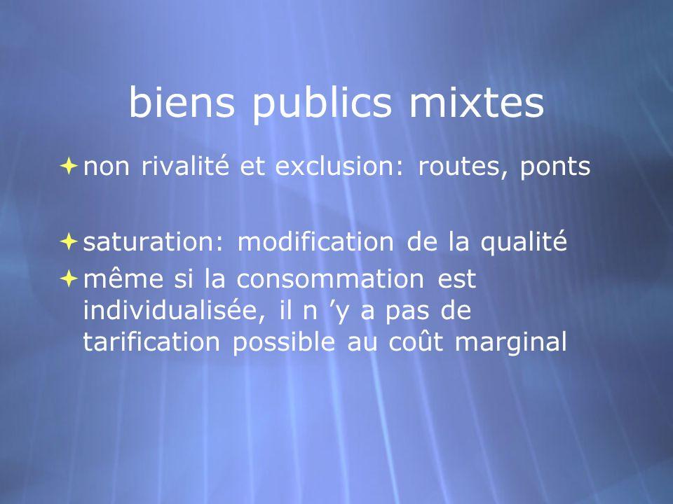 biens publics mixtes non rivalité et exclusion: routes, ponts