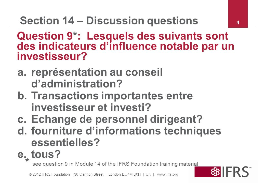 Section 14 – Discussion questions
