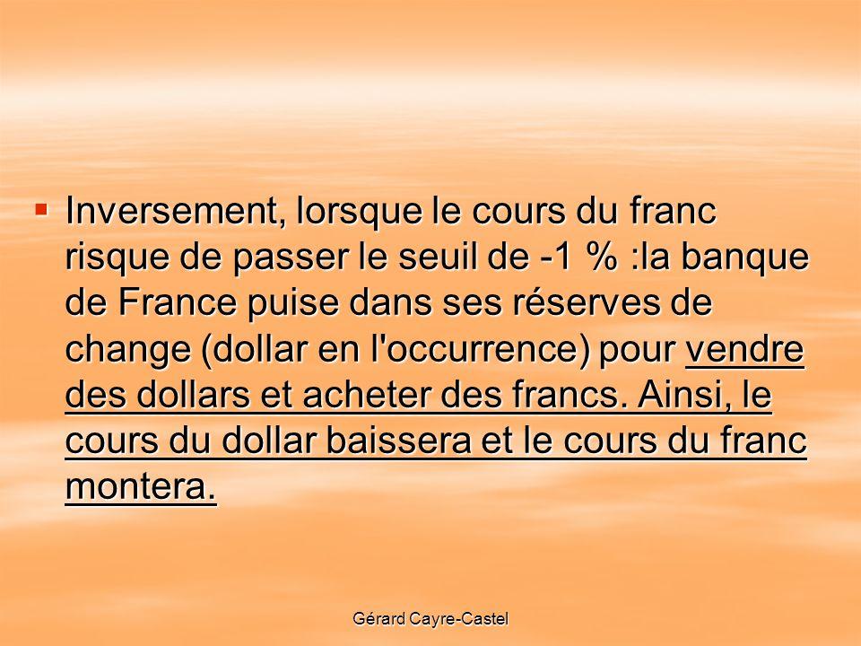 Inversement, lorsque le cours du franc risque de passer le seuil de -1 % :la banque de France puise dans ses réserves de change (dollar en l occurrence) pour vendre des dollars et acheter des francs. Ainsi, le cours du dollar baissera et le cours du franc montera.