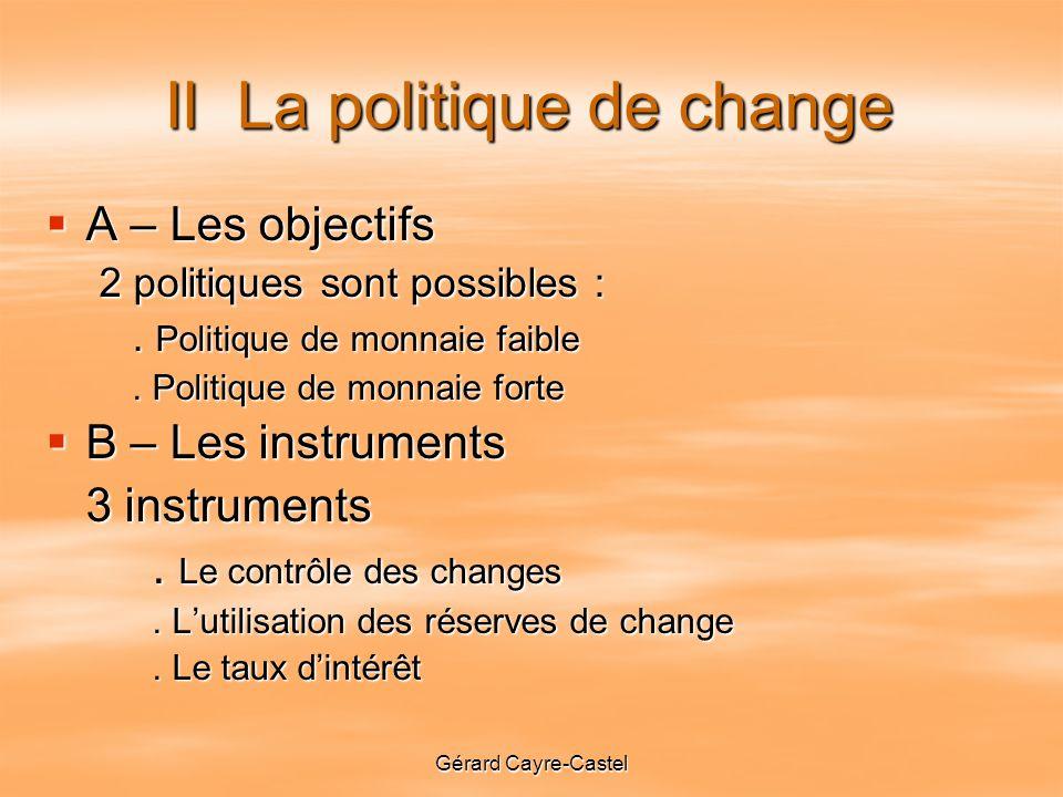 II La politique de change