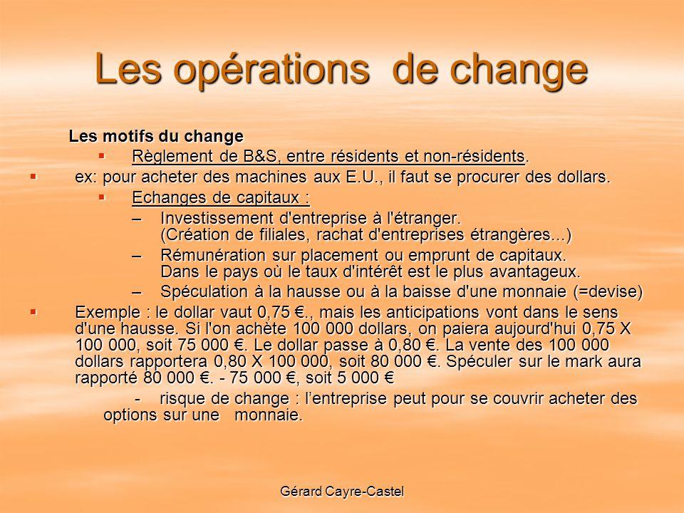 Les opérations de change