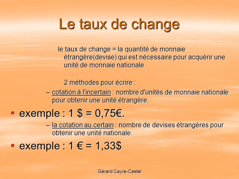 Le taux de change exemple : 1 $ = 0,75€. exemple : 1 € = 1,33$