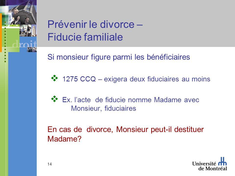 Prévenir le divorce – Fiducie familiale