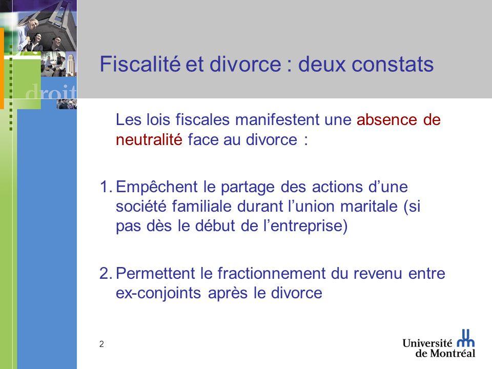 Fiscalité et divorce : deux constats
