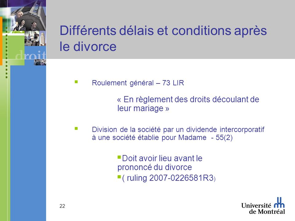 Différents délais et conditions après le divorce