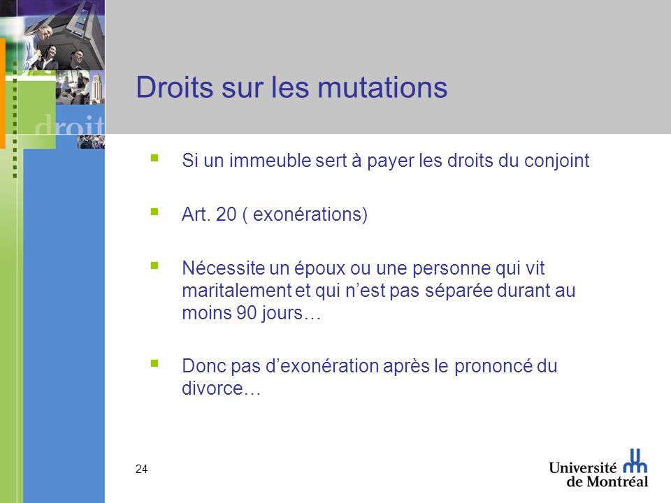Droits sur les mutations