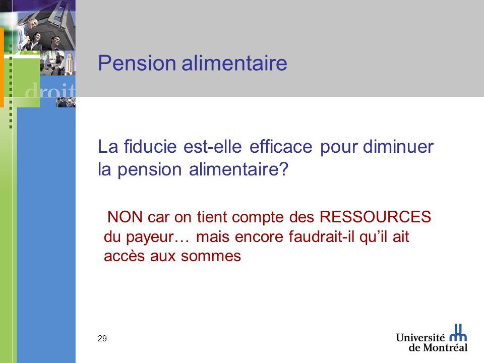 Pension alimentaire La fiducie est-elle efficace pour diminuer la pension alimentaire