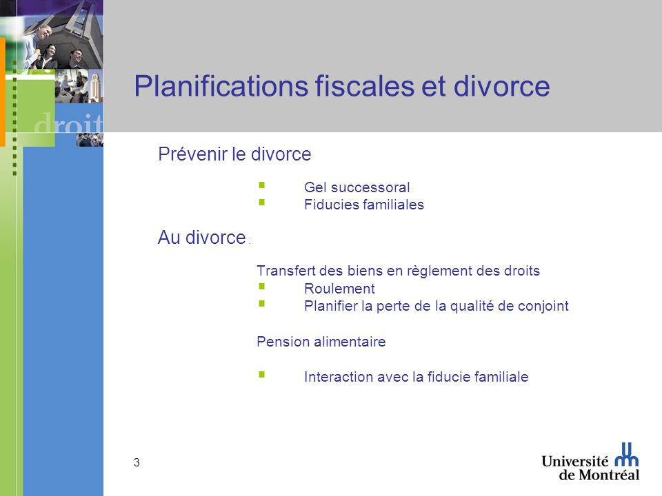 Planifications fiscales et divorce