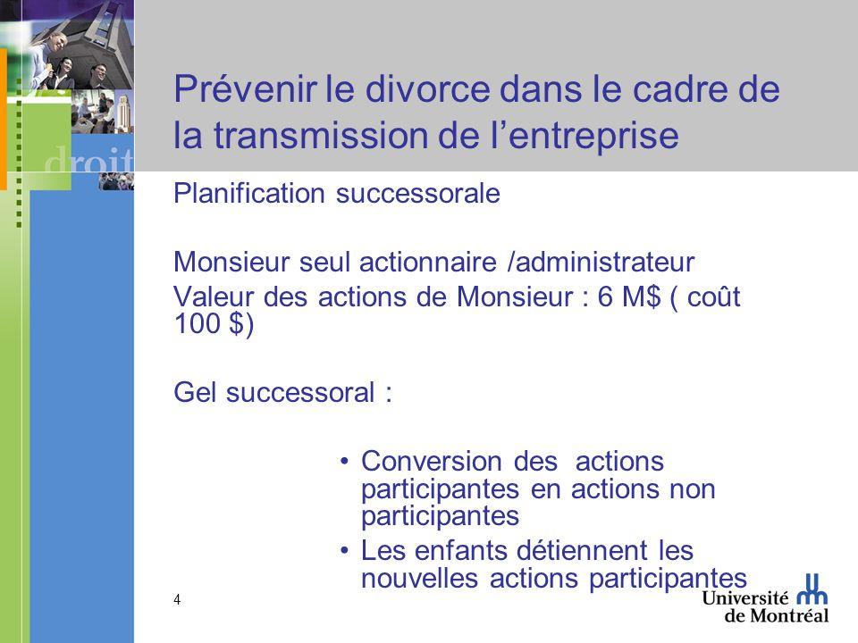 Prévenir le divorce dans le cadre de la transmission de l'entreprise