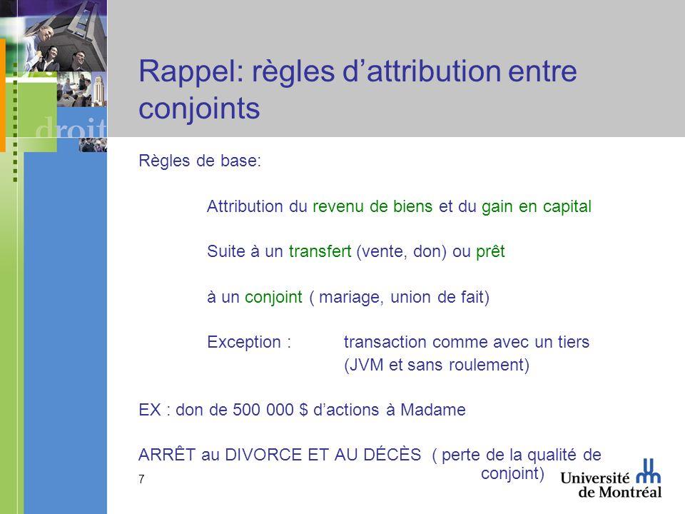 Rappel: règles d'attribution entre conjoints