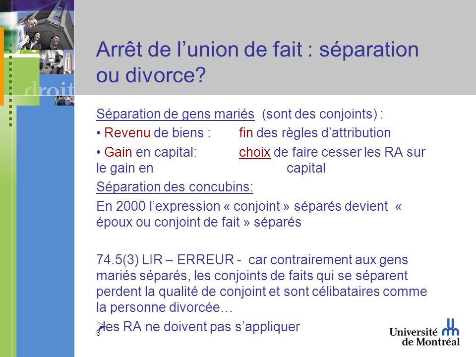 Arrêt de l'union de fait : séparation ou divorce