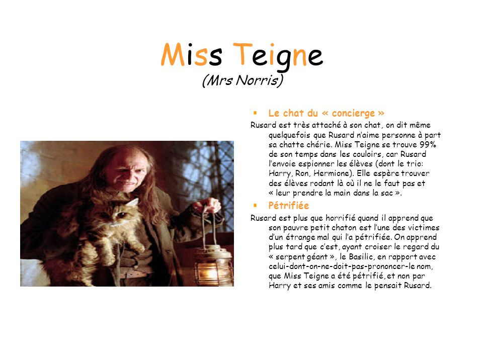 Miss Teigne (Mrs Norris)
