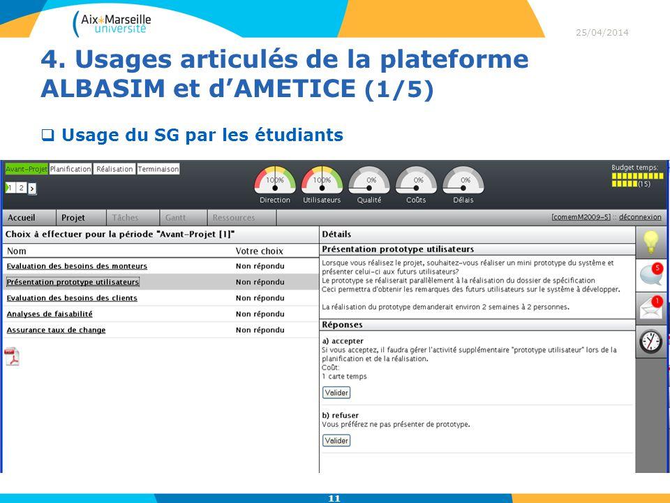 4. Usages articulés de la plateforme ALBASIM et d'AMETICE (1/5)