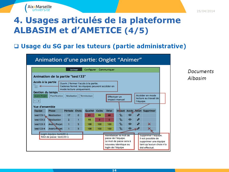 4. Usages articulés de la plateforme ALBASIM et d'AMETICE (4/5)
