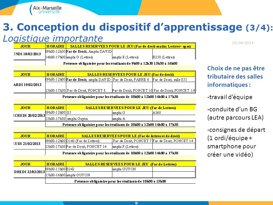 3. Conception du dispositif d'apprentissage (3/4): Logistique importante
