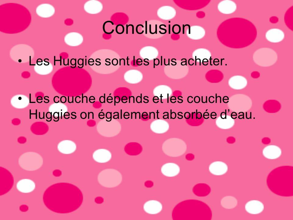 Conclusion Les Huggies sont les plus acheter.
