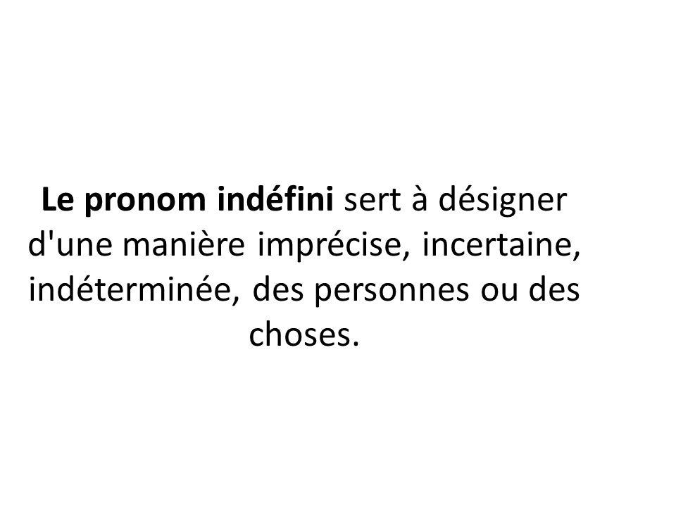 Le pronom indéfini sert à désigner d une manière imprécise, incertaine, indéterminée, des personnes ou des choses.