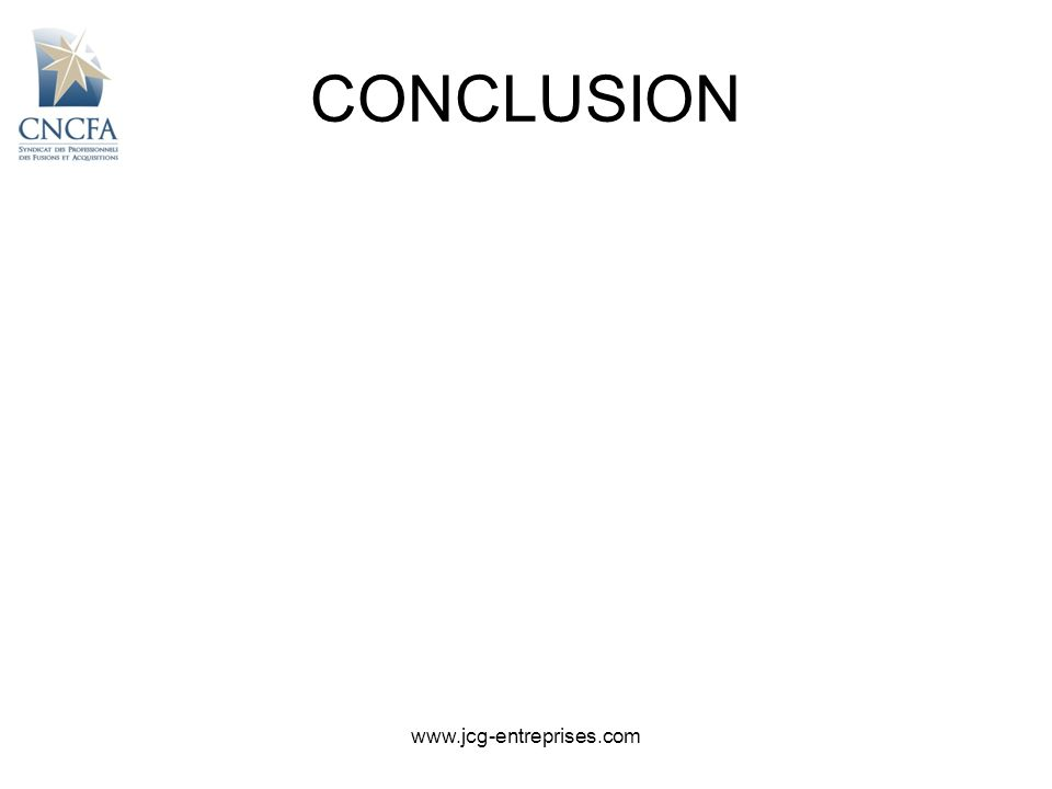 CONCLUSION www.jcg-entreprises.com