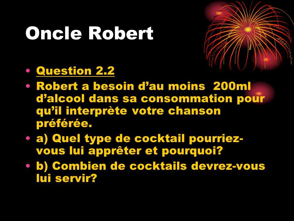 Oncle Robert Question 2.2. Robert a besoin d'au moins 200ml d'alcool dans sa consommation pour qu'il interprète votre chanson préférée.