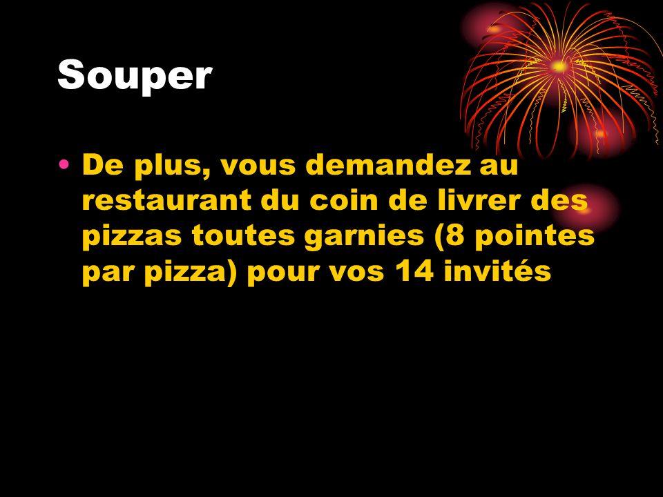 Souper De plus, vous demandez au restaurant du coin de livrer des pizzas toutes garnies (8 pointes par pizza) pour vos 14 invités.