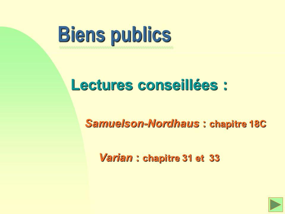 Biens publics Lectures conseillées : Samuelson-Nordhaus : chapitre 18C