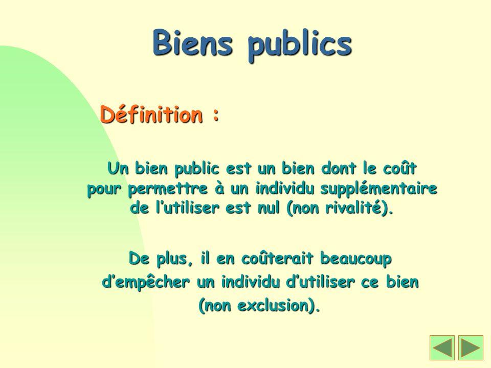 Biens publics Définition : Un bien public est un bien dont le coût