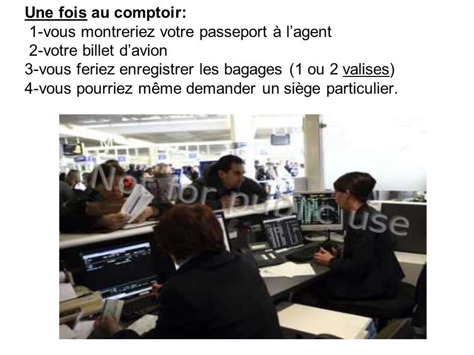 Une fois au comptoir: 1-vous montreriez votre passeport à l'agent 2-votre billet d'avion 3-vous feriez enregistrer les bagages (1 ou 2 valises) 4-vous pourriez même demander un siège particulier.