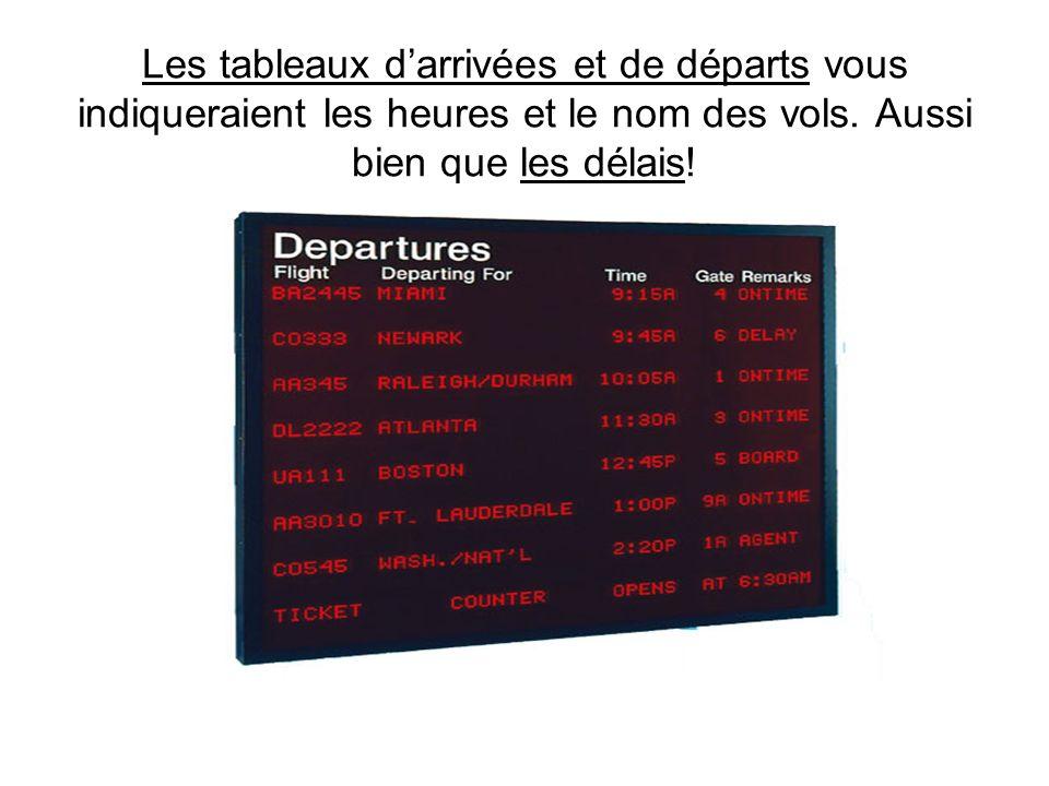Les tableaux d'arrivées et de départs vous indiqueraient les heures et le nom des vols.
