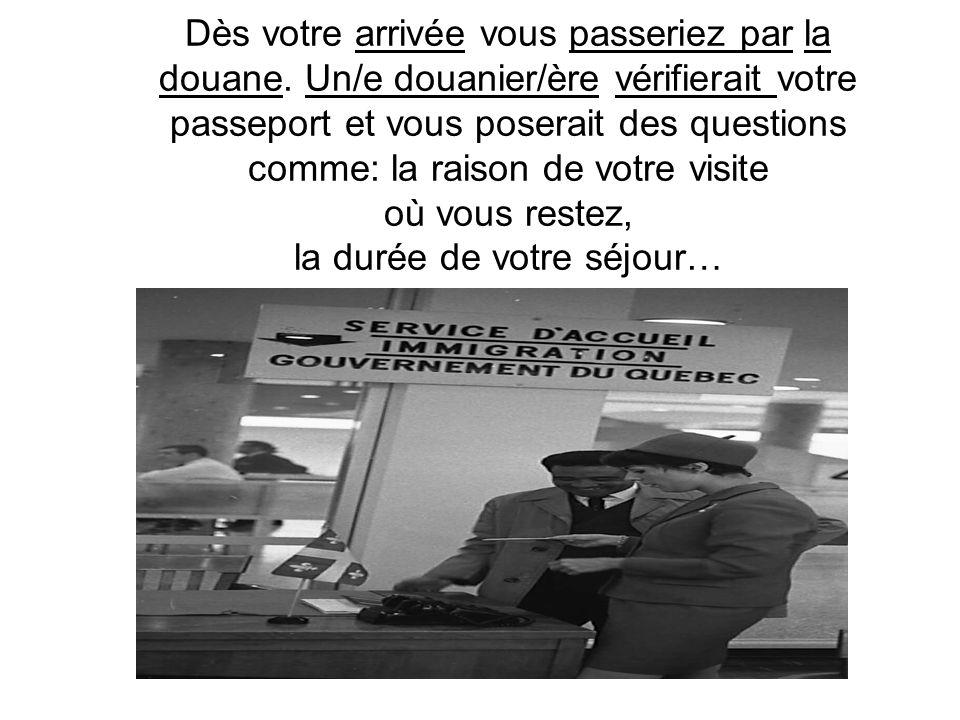Dès votre arrivée vous passeriez par la douane