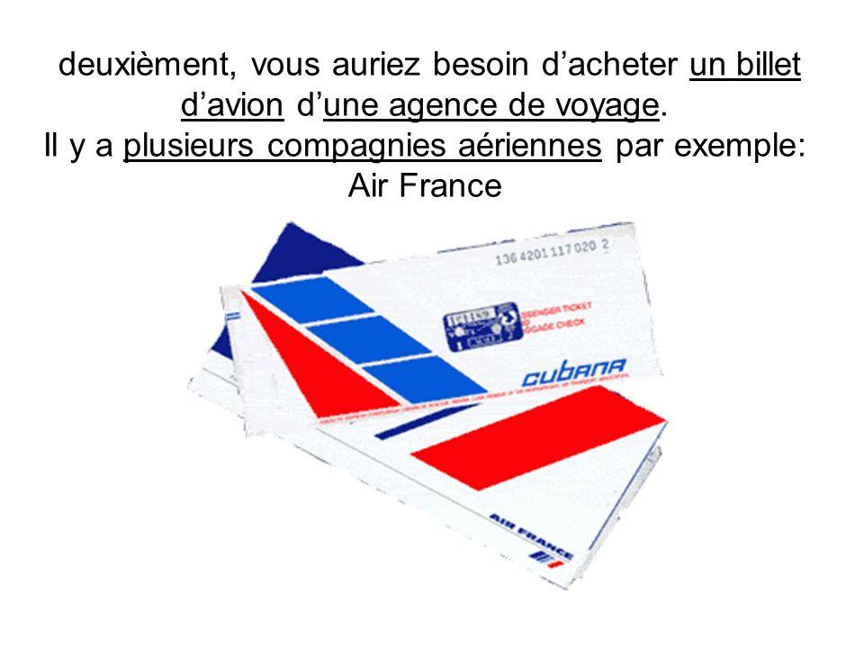 deuxièment, vous auriez besoin d'acheter un billet d'avion d'une agence de voyage.