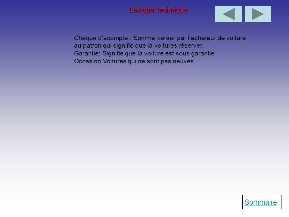 Lexique technique Sommaire
