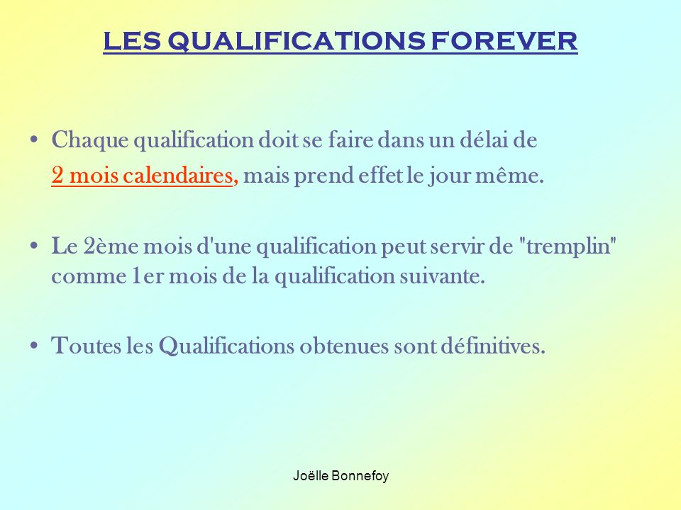 LES QUALIFICATIONS FOREVER