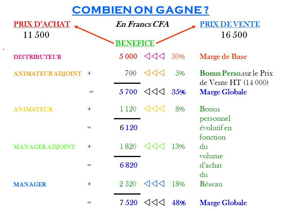 COMBIEN ON GAGNE PRIX D'ACHAT En Francs CFA PRIX DE VENTE