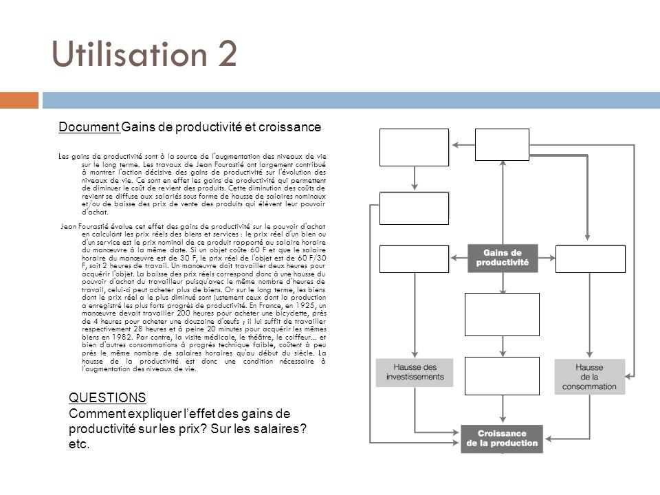 Utilisation 2 Document Gains de productivité et croissance QUESTIONS
