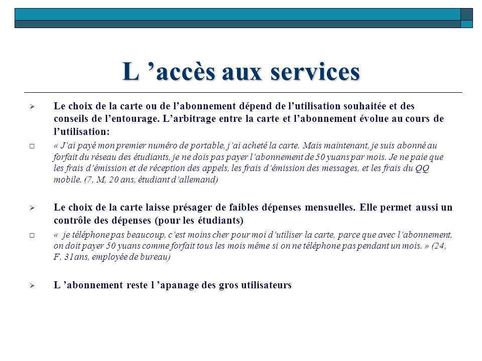L 'accès aux services