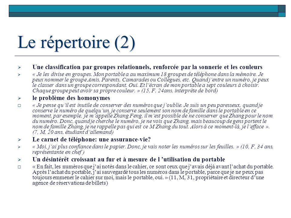 Le répertoire (2) Une classification par groupes relationnels, renforcée par la sonnerie et les couleurs.