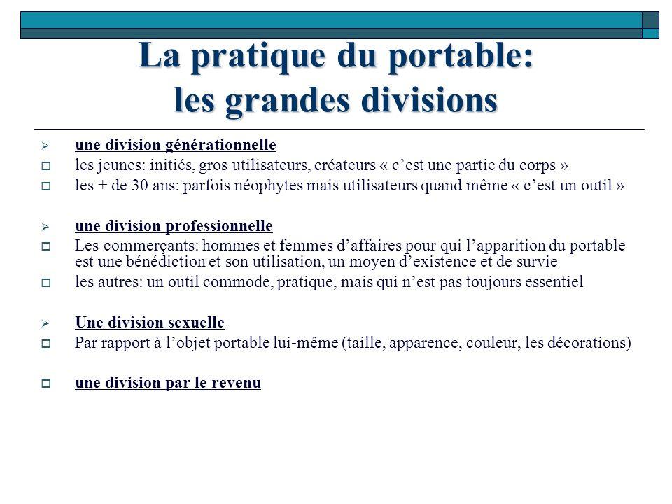 La pratique du portable: les grandes divisions