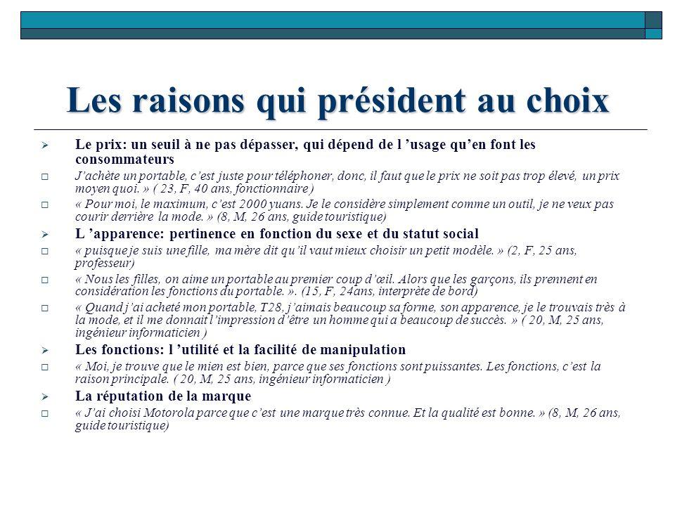 Les raisons qui président au choix