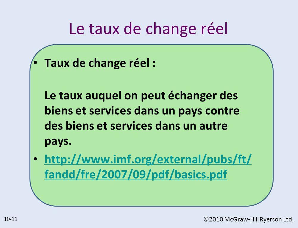 Le taux de change réel