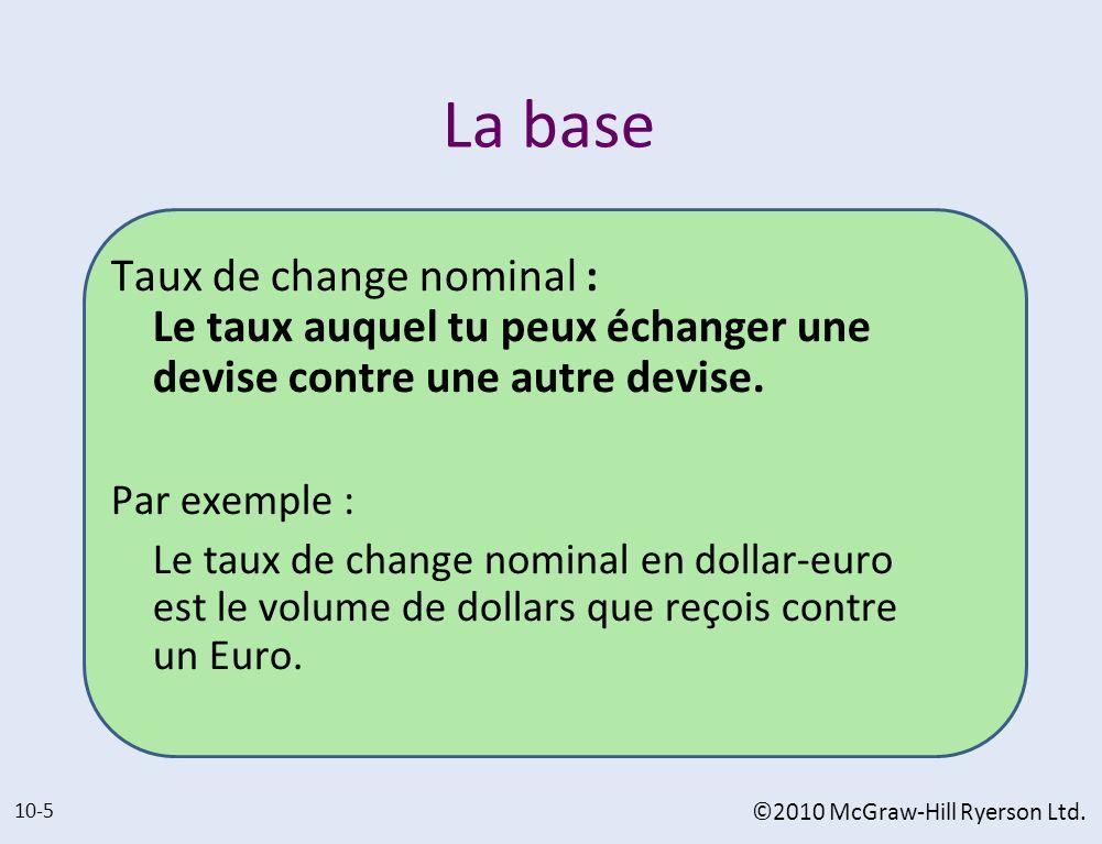 La base Taux de change nominal : Le taux auquel tu peux échanger une devise contre une autre devise.