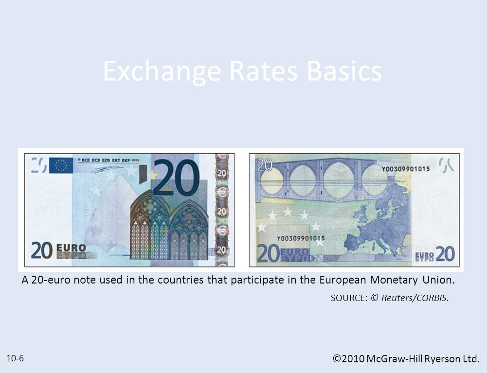 Exchange Rates Basics A 20-euro note used in the countries that participate in the European Monetary Union.