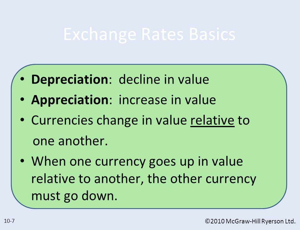 Exchange Rates Basics Depreciation: decline in value
