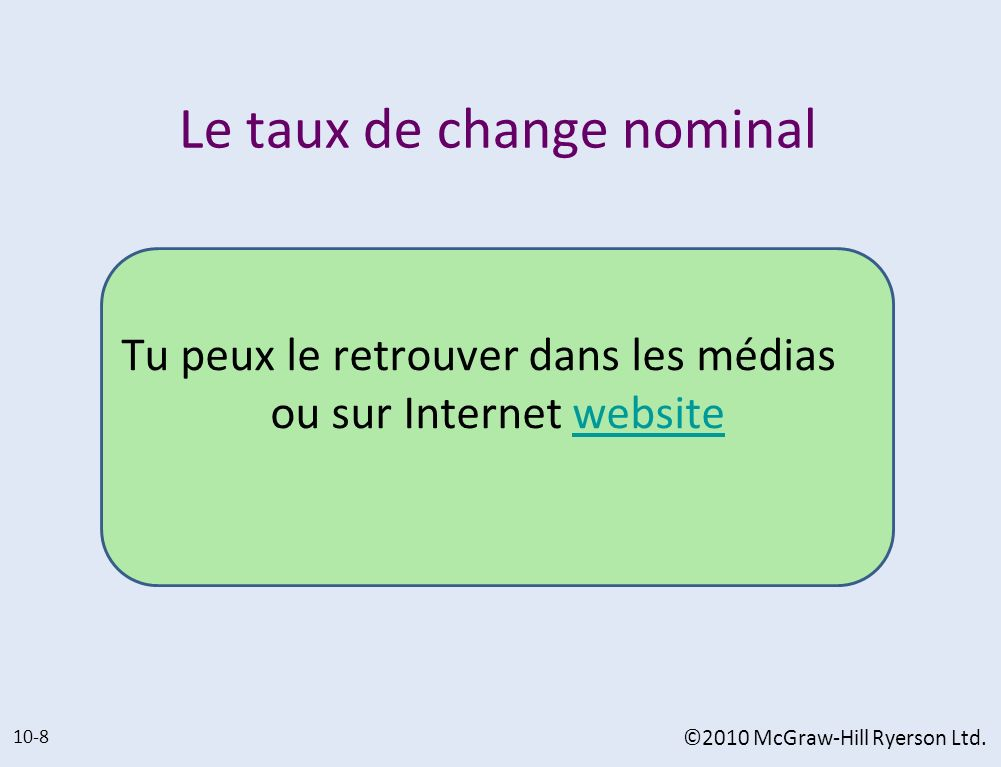 Le taux de change nominal