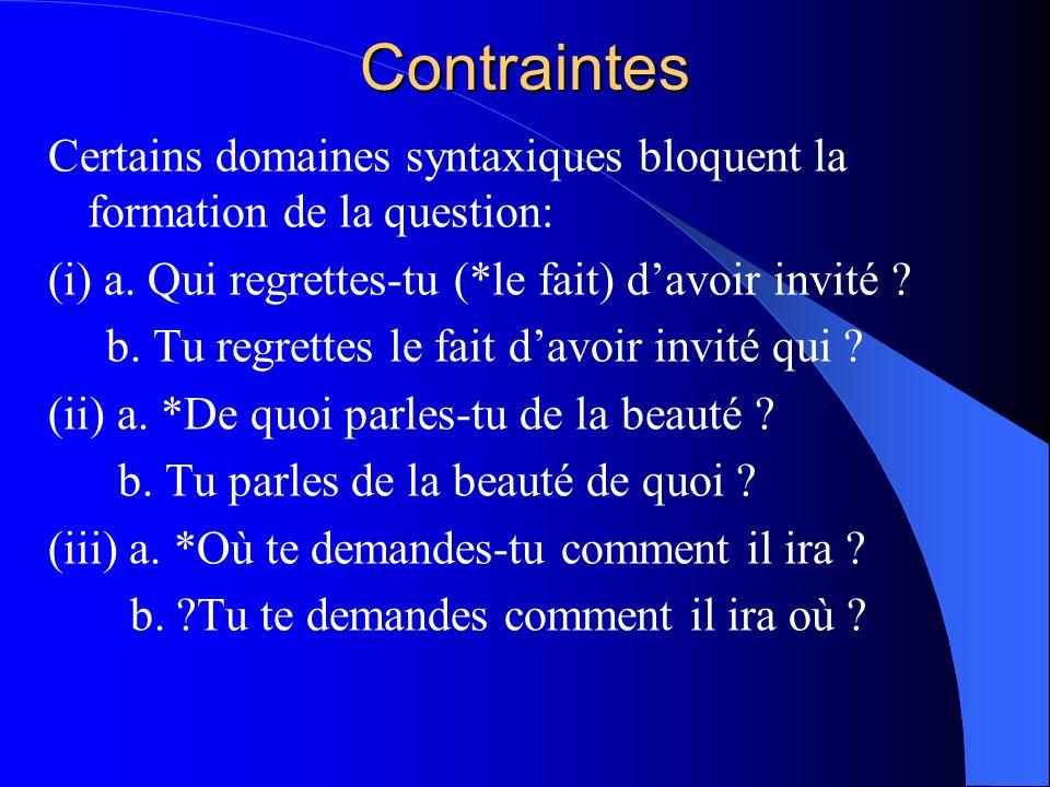 Contraintes Certains domaines syntaxiques bloquent la formation de la question: (i) a. Qui regrettes-tu (*le fait) d'avoir invité
