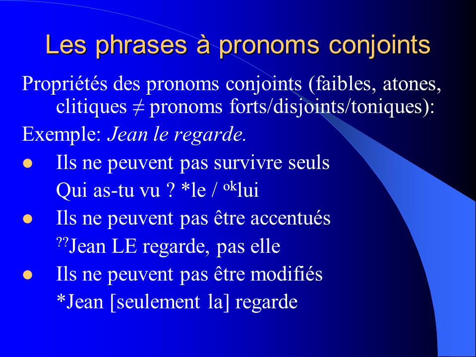 Les phrases à pronoms conjoints