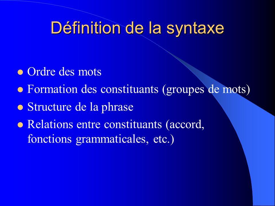 Définition de la syntaxe