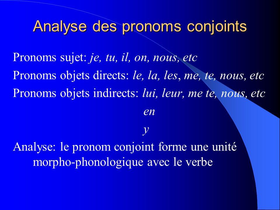 Analyse des pronoms conjoints