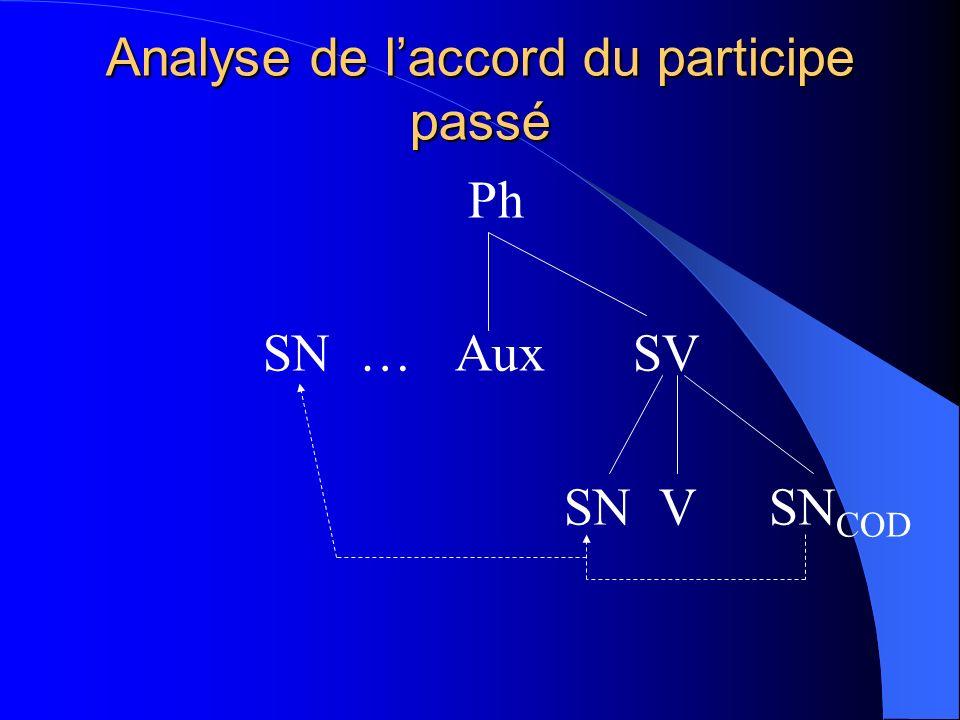 Analyse de l'accord du participe passé
