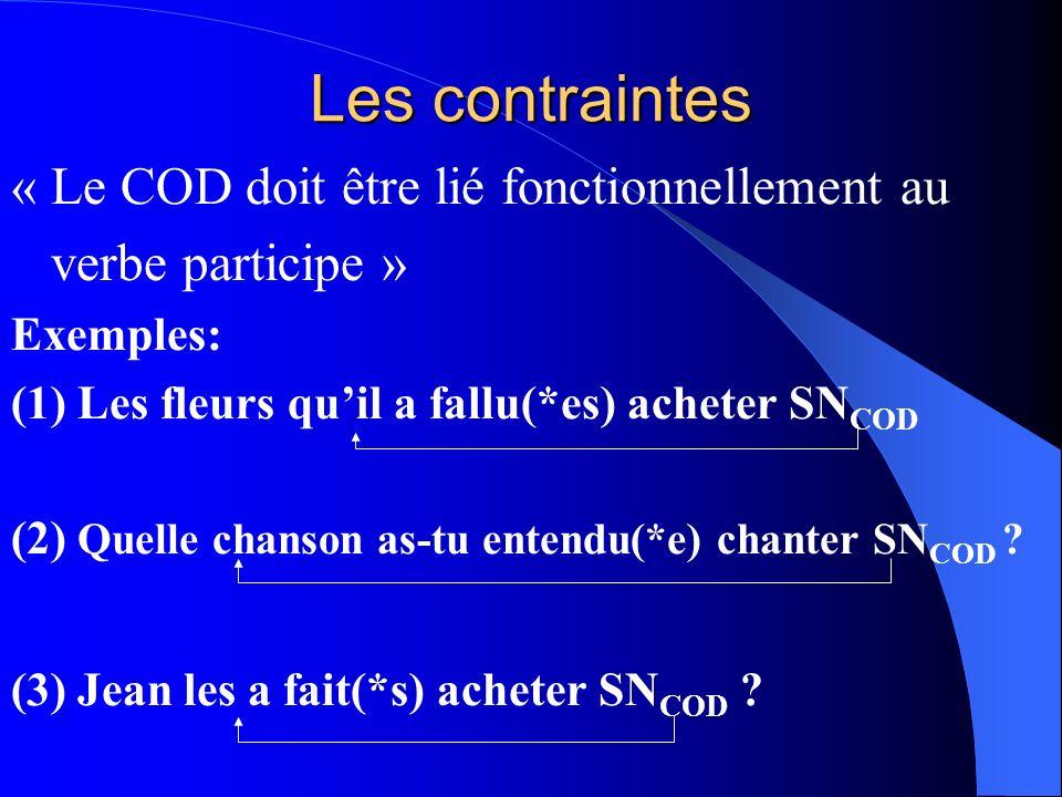 Les contraintes « Le COD doit être lié fonctionnellement au
